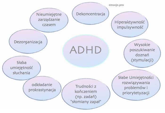 adhd u dorosłych: poradnik ADHD u Dorosłych: poradnik ADHD doroslych grafika obszary trudnosci